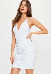 Missguided White Slinky Double Strap Ruche Bodycon Dress