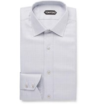 Tom Ford Light Grey Slim Fit Prince Of Wales Checked Cotton Shirt Gray