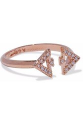 Astrid And Miyu Fitzgerald Triangle Rose Gold Tone Crystal Ring Rose Gold