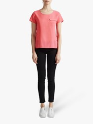 French Connection Crepe Short Sleeve Pocket Tee Pink