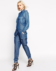 L.A.M.B. L.A.M.Blong Sleeve Chambray Jumpsuit