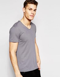 Esprit V Neck Short Sleeve T Shirt With Roll Sleeve Grey