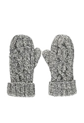 Forever 21 Cable Knit Mittens Cream Grey
