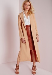 Missguided Long Sleeve Maxi Duster Coat Camel Beige
