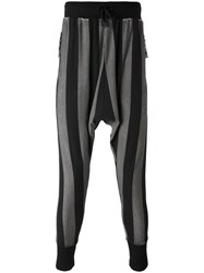 Unconditional Striped Drop Crotch Drawstring Trousers Men Cotton Spandex Elastane L Black