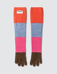 Ganni Multicolored Knit Gloves
