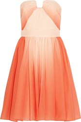 Halston Pleated Ombre Chiffon Dress Orange