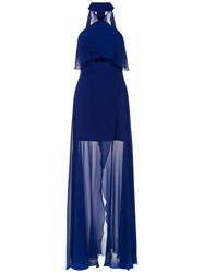Tufi Duek Long Silk Dress Blue