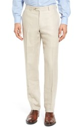 Nordstrom 'S Big And Tall Men's Shop Flat Front Solid Linen Trousers Natural