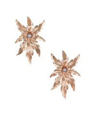 Badgley Mischka 6 7Mm Grey Pearl Flower Earrings Gold