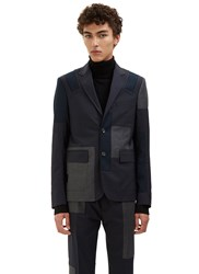 Oamc Patchwork Tailored Blazer Jacket Navy