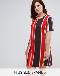 Pink Clove Printed T Shirt Dress Multi Stripe