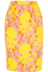 Miu Miu Floral Cotton Blend Cloque Pencil Skirt Yellow