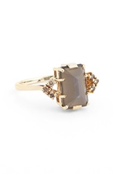 Anna Sheffield 'Bea' Moonstone And Champagne Diamond Arrow Ring Yellow Grey