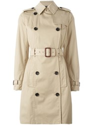 Michael Michael Kors Double Breasted Belted Trench Coat Nude Neutrals