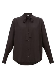 Stella Mccartney Pussy Bow Silk Blouse Black