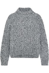 Vince Cable Knit Wool Blend Turtleneck Sweater Light Gray