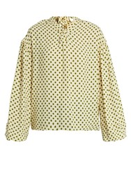 Balenciaga Balloon Sleeved Polka Dot Print Crepe Blouse Beige Multi