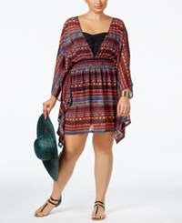 Jessica Simpson Plus Size Printed Open Back Chiffon Cover Up Women's Swimsuit Spice Multi
