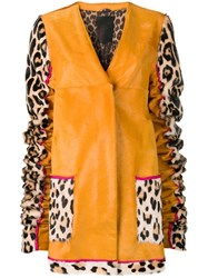 Liska Animal Printed Sleeves Coat Yellow