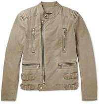 Balmain Cotton Biker Jacket Beige