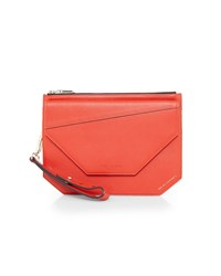 Ted Baker Cassis Flap Detail Leather Clutch Bag Red