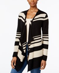Jm Collection Striped Draped Cardigan Only At Macy's Black Stone Combo