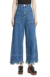 See By Chloe Scalloped Hem Wide Leg Jeans Shady Cobalt