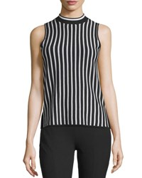 Rag And Bone Livvy Striped Silk Blend Tank Black White