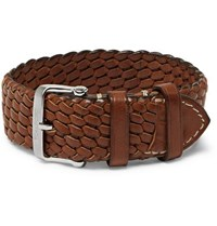 Tom Ford Woven Leather Watch Strap Brown