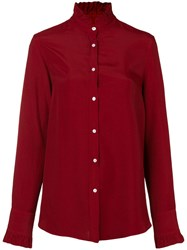 The Gigi Ruffled Collar Blouse Red