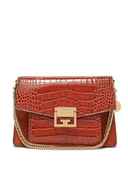 Givenchy Gv3 Small Crocodile Effect Leather Cross Body Bag Tan