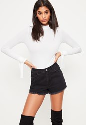 Missguided White Tie Cuff Detail Ribbed Bodysuit