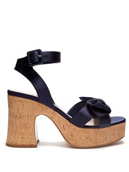 Miu Miu Bow Detail Satin Platform Sandals Navy