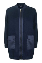 Topshop Wool Satin Hybrid Coat Navy Blue