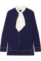 Marni Pussy Bow Crepe Blouse Navy