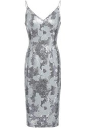Black Halo Amorie Sequined Crepe Dress Silver
