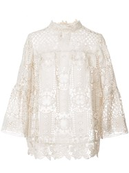 Anna Sui Floral Medallion Lace Blouse Nude And Neutrals