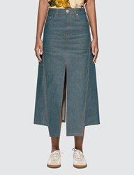 Lanvin Slit Midi Denim Skirt Blue