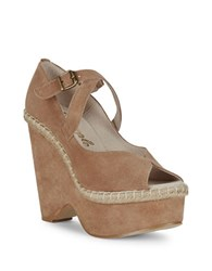 Free People Suede Platform Open Toe Wedges Pink