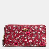 Coach Accordion Zip Wallet In Wild Hearts Print Coated Canvas Light Gold Wild Hearts Red Multi