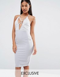 Naanaa Strappy Midi Dress With Sequin Lace Bodice Silver Grey