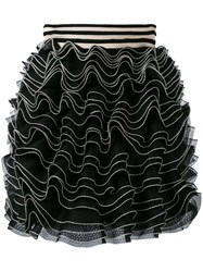 Alexander Mcqueen Knitted Ruffle Mini Skirt Black