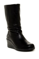 Keen Kate Leather Slouch Wedge Boot Black