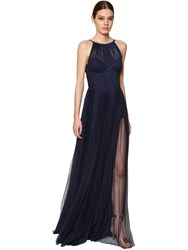 Maria Lucia Hohan Long Polka Dotted Pleated Tulle Dress Blue