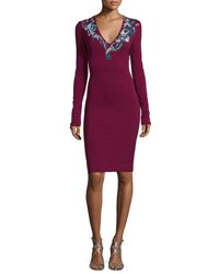 Roberto Cavalli Sequined Long Sleeve Jersey Dress Purple Pattern