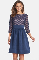 Eliza J Dot Mesh Bodice Fit And Flare Dress Navy