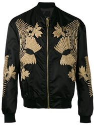 Les Hommes Embroidered Bomber Jacket Men Cotton Polyamide Spandex Elastane Metallic Fibre 50 Black