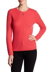 In Cashmere Cable Knit Pullover Sweater Pink