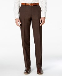 Bar Iii Men's Slim Fit Brown Mini Check Dress Pants Only At Macy's